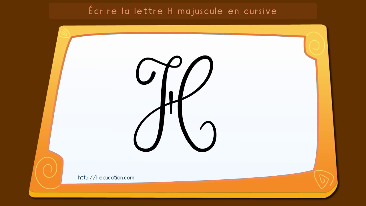 apprendre crire la lettre h majuscule cursive youtube. Black Bedroom Furniture Sets. Home Design Ideas