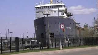 Algoway Great Lakes Freighter in The Soo Locks in Sault Ste. Marie, Michigan