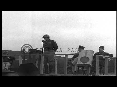 General George S. Patton addresses the soldiers of United States 7th Armored Divi...HD Stock Footage
