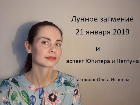 """ЛУННОЕ ЗАТМЕНИЕ 21 января 2019 года и аспект """"большой воды"""""""