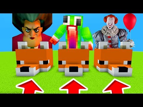 Minecraft PE : DO NOT CHOOSE THE WRONG FOX! (Scary Teacher, Unspeakablegaming & Pennywise)