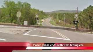 Police chase ends with train hitting car in Jackson County, Alabama