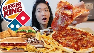 PIZZA & BURGERS!! Domino's Pizza, Burger King Cheesy BBQ Beef, Fried Chicken Mukbang w Eating Sounds