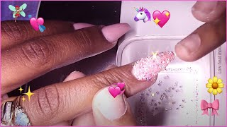Classy and Elegant Nude Bling Coffin Acrylic Nails