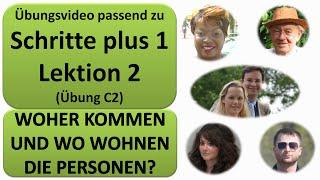 Deutsch lernen A1: Schritte plus 1 Lektion 2 (Übung C2) - Woher kommen die Leute und wo wohnen sie?
