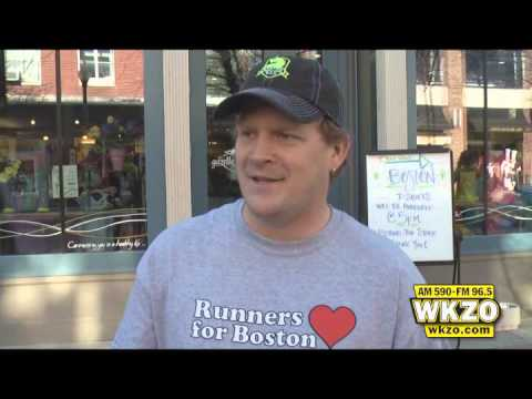 Gazelle Sports Manager on Runners for Boston event held in downtown Kalamazoo