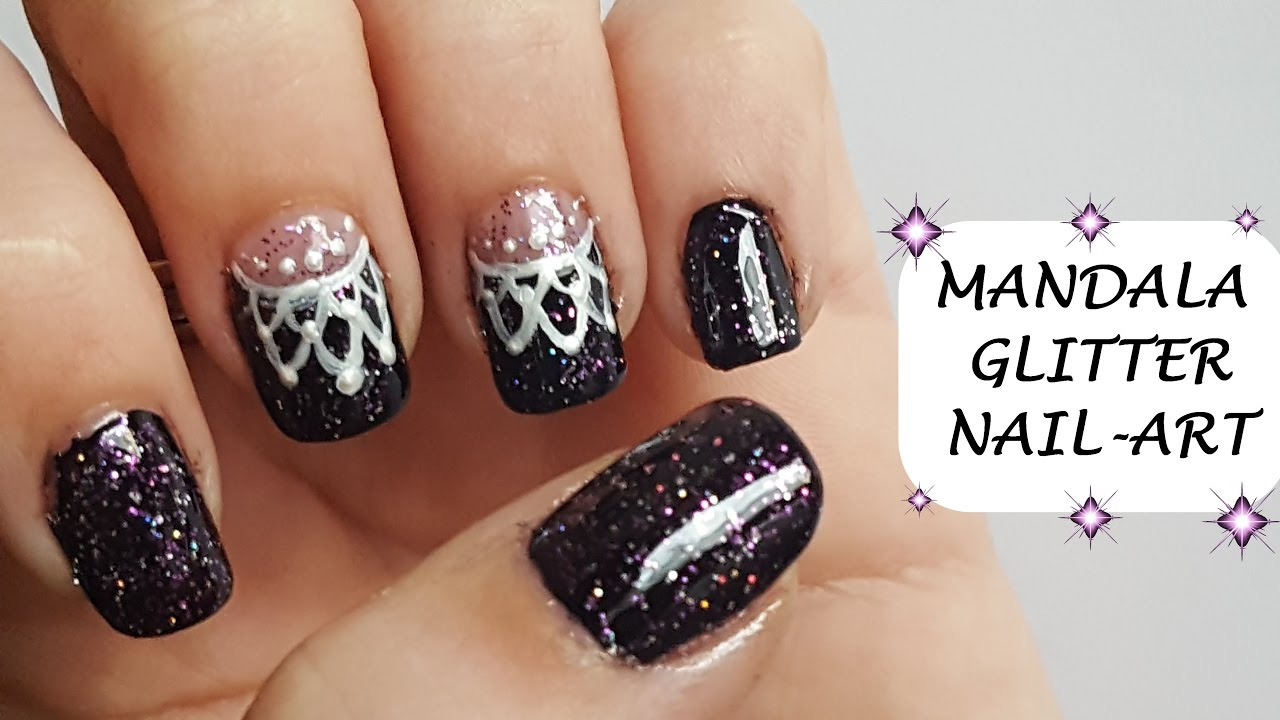 EASY MANDALA & GLITTER NAIL ART | DIY | Acrylic Paint | Tutorial ...