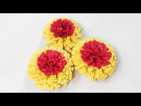 Paper marigold Flower / কাগজের গাঁদা ফুল / Marigold Paper Flower    Creative Idea   