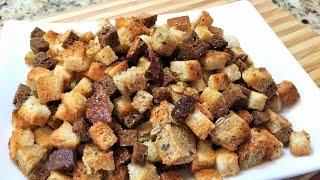 СУХАРИКИ ПИКАНТНЫЕ. Кириешки. Как приготовить хрустящие сухарики.  Простой рецепт. (Сrackers)