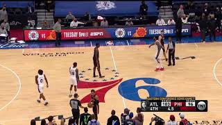Philly fan throws bottle on the court and Joel Embiid throws it off after the Hawks win game 7 👀