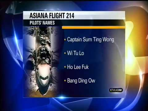 Oakland News Station Releases Asiana Pilots Names:  Captain Sum Ting Wong