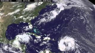 Satellite View of Harvey and Irene