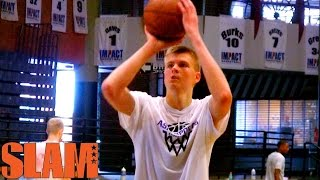 Kristaps porzingis 2015 nba draft workout - new york knicks - 7'1 19 year old - nba draft 2015