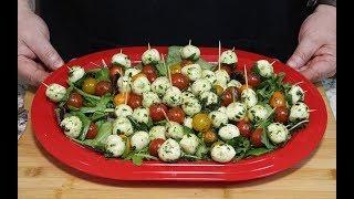 Marinated Mozzarella Balls!  (With Basil and Cherry Tomatoes)