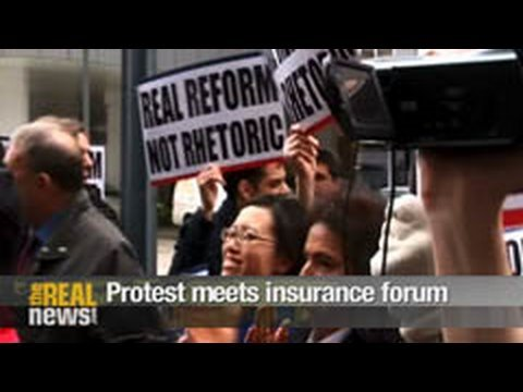 Protest meets health insurance lobby