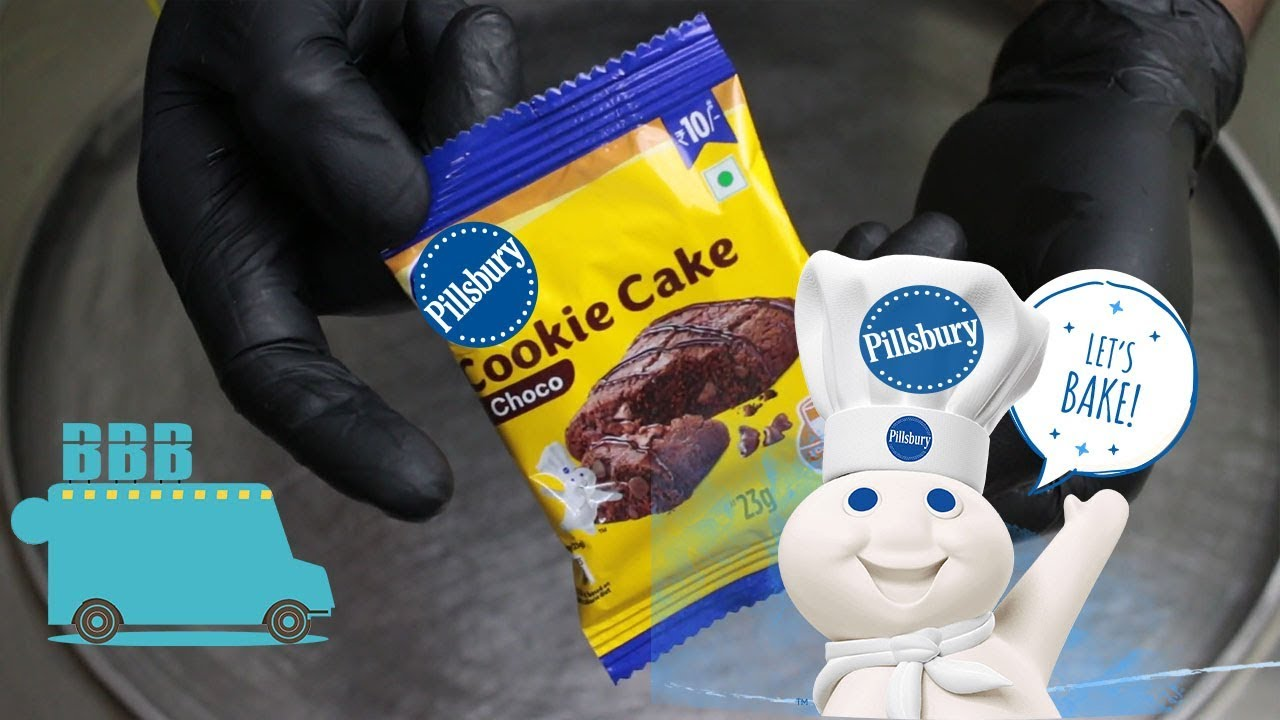 PILLSBURY Cookie Cake Ice Cream Rolls. Making Cookie into ice Cream Rolls - ASMR