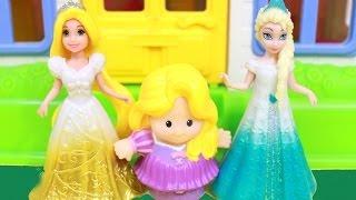 Disney TANGLED Rapunzel and Frozen Elsa Meet Fisher Price Little People Rapunzel