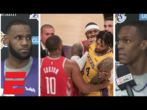 LeBron James, Rajon Rondo react to Rockets vs Lakers brawl suspensions | NBA Interview