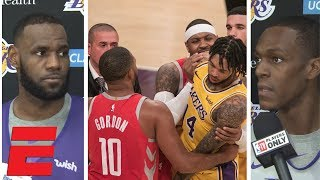 LeBron James, Rajon Rondo react to Rockets vs Lakers brawl suspensions | NBA Interview