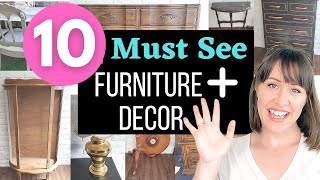 10 Furniture & Decor Flips Full of High End, Cottage-core, Farmhouse and other decor styles