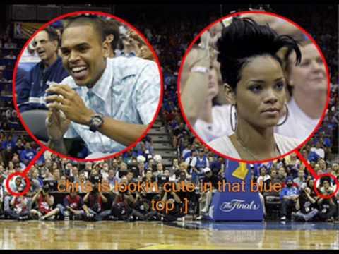 Chris Brown and Rihanna both at NBA Finals Game