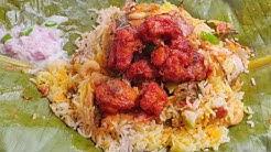 வாழை இலையில் கட்டி வேகவைத்த Chicken 65 Briyani,Taste vera Level/Chicken 65 Briyani in Banana Leaf