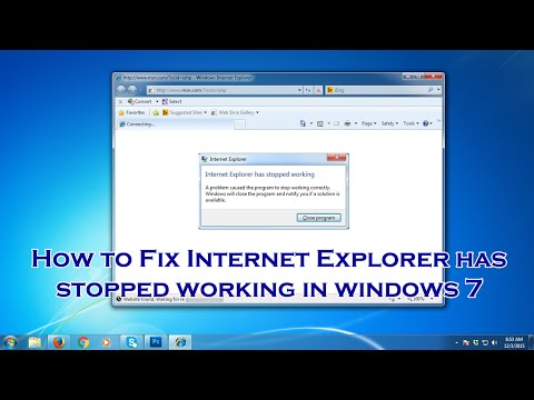 How to fix Internet Explorer has stopped working on Windows 7