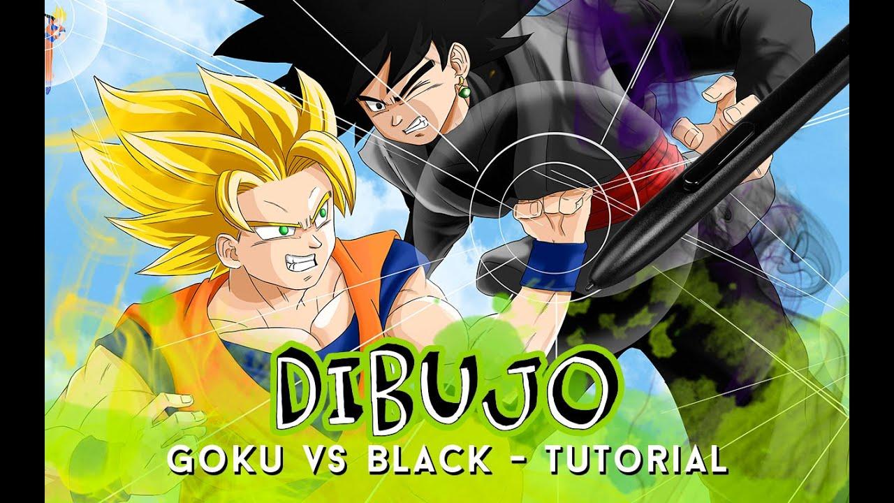 Como Dibujar A Goku Super Sayayin: COMO DIBUJAR A GOKU SUPER SAIYAJIN 2 VS GOKU BLACK