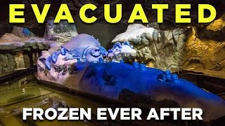 pov of evacuation from frozen ever after ride on opening day at walt disney world epcot