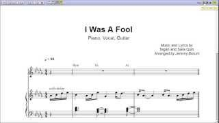 """""""I Was a Fool"""" by Tegan and Sara - Piano Sheet Music (Teaser)"""