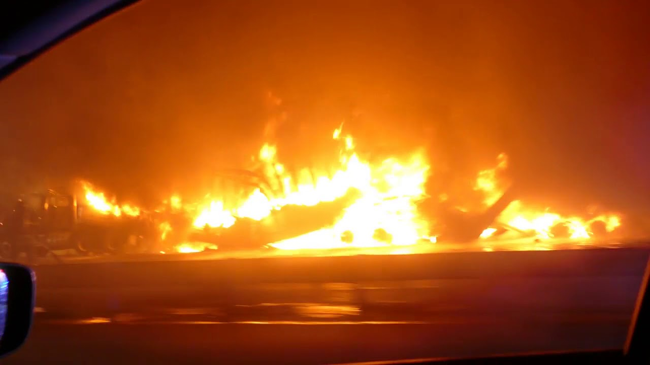 Fatal Tractor Trailer Fire and Crash on the NJ Turnpike near Exit 8