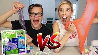 Rebecca&#39s DIY Slime Vs. Nickelodeon Slime Kit Challenge -  Which Slime is Better?