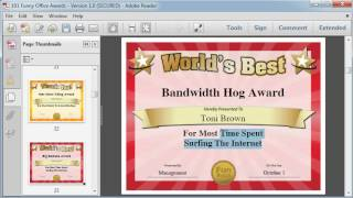 Silly Certificates Awards Templates  funny office awards 101