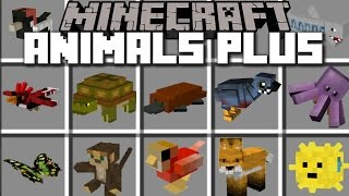 Minecraft ANIMALS PLUS MOD / SPAWN LOADS OF DIFFERENT TYPES OF MOBS!! Minecraft
