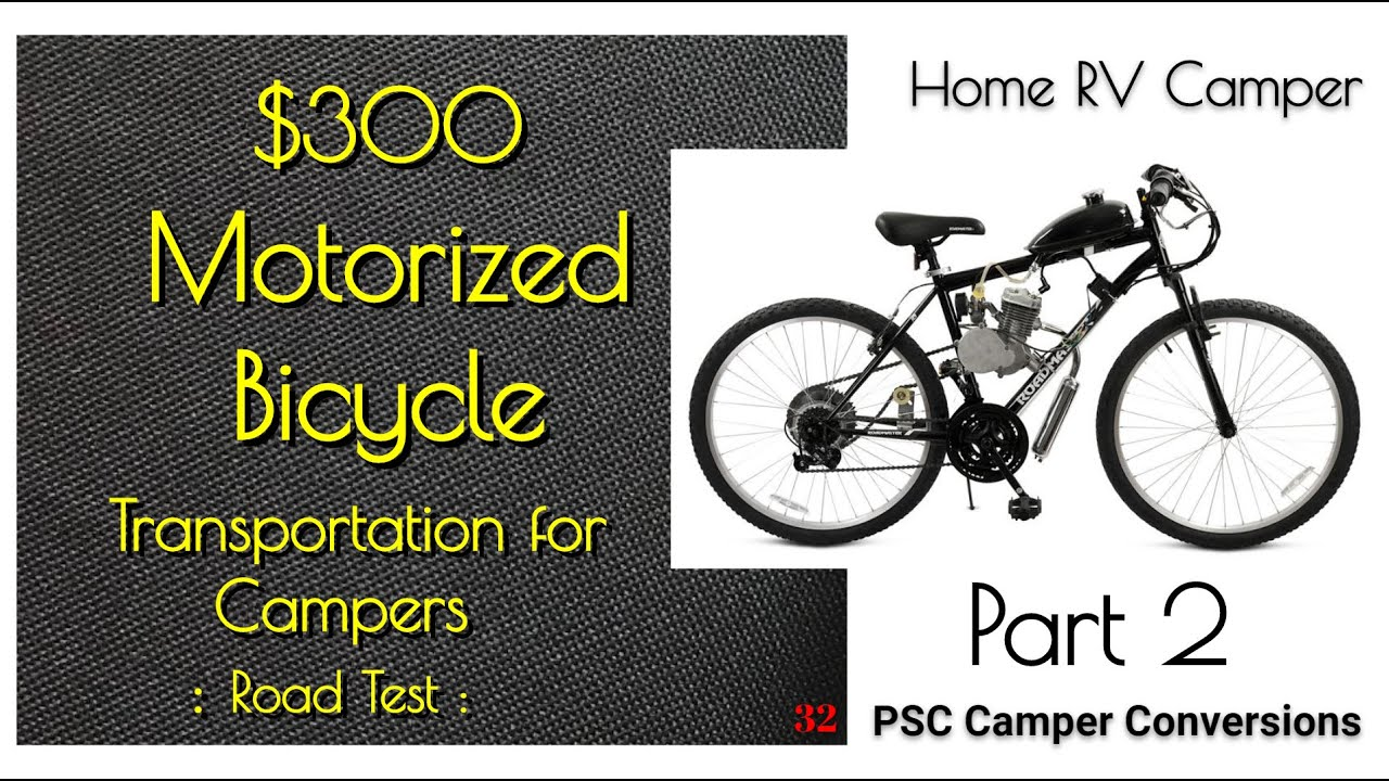 P2 $300 Motorized Bicycle Review 80cc 66cc Campers RV Road Speed Test Gas Motorcycle Specs Bike 60cc