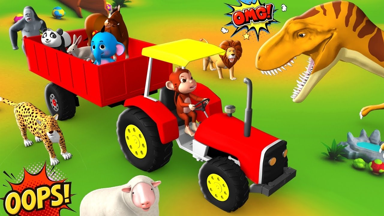 Transporter Truck Save Funny Animals & Gorilla from Dinosaur - Funny Animal Videos 3D Cartoons