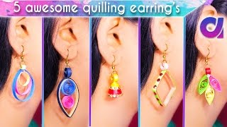 5 easy and awesome quilling earrings for girls | DIY | Artkiala 193