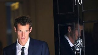 Andy Murray arrives at Downing Street to celebrate Wimbledon victory with Prime Minister