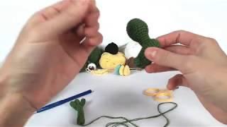 Динозавр крючком. Вязаные игрушки.Вязание для начинающих. Crochet dino. (Урок 3 ручки, ножки)