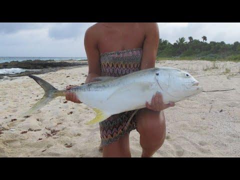 Shore Fishing Playa Del Carmen, Mexico (big Jack Crevalle)