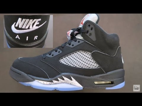 d37e233893e359 Air Jordan 5 Black Metallic 2016 Retro Shoe Detailed Review! NIKE AIR ON  THE BACK 👀