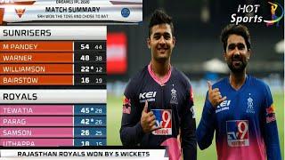 Match 26 - Sunrisers Hyderabad vs Rajasthan Royals | Full Match Highlights | IPL 2020