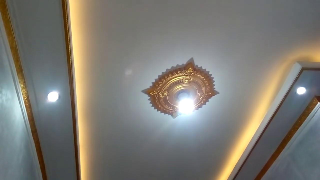 Contoh Dekorasi Plafon Ruang Tamu Keluarga Menggunakan Lampu Strip Led Downlight Youtube Lampu plafon ruang tamu