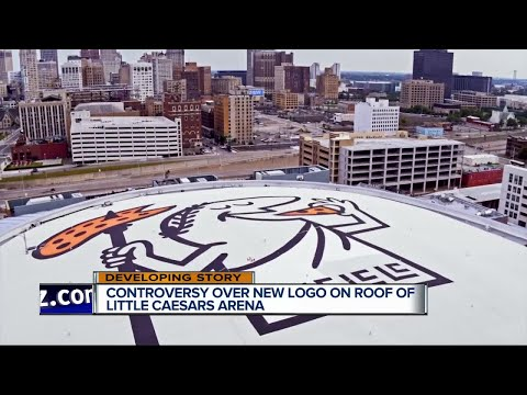 Controversy over new logo on roof of Little Caesars Arena