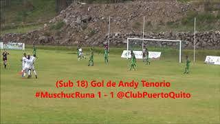 Gol de Andy Tenorio de la Sub 18 de Club Puerto Quito a Mushuc Runa 2017 Video