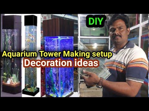 How to make aquarium bubble wall & Tower Fish AQUARIUM DECORATION Fish TANK used house very Easy DIY