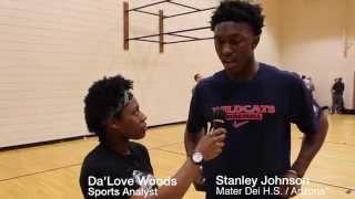 Stanley Johnson talks with Da'Love Woods at Nike Hoop Summit