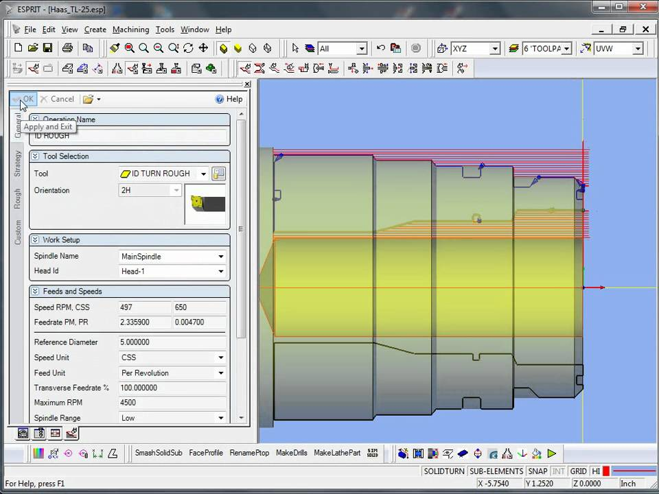 ESPRIT CAM - Lathe programming from  dxf