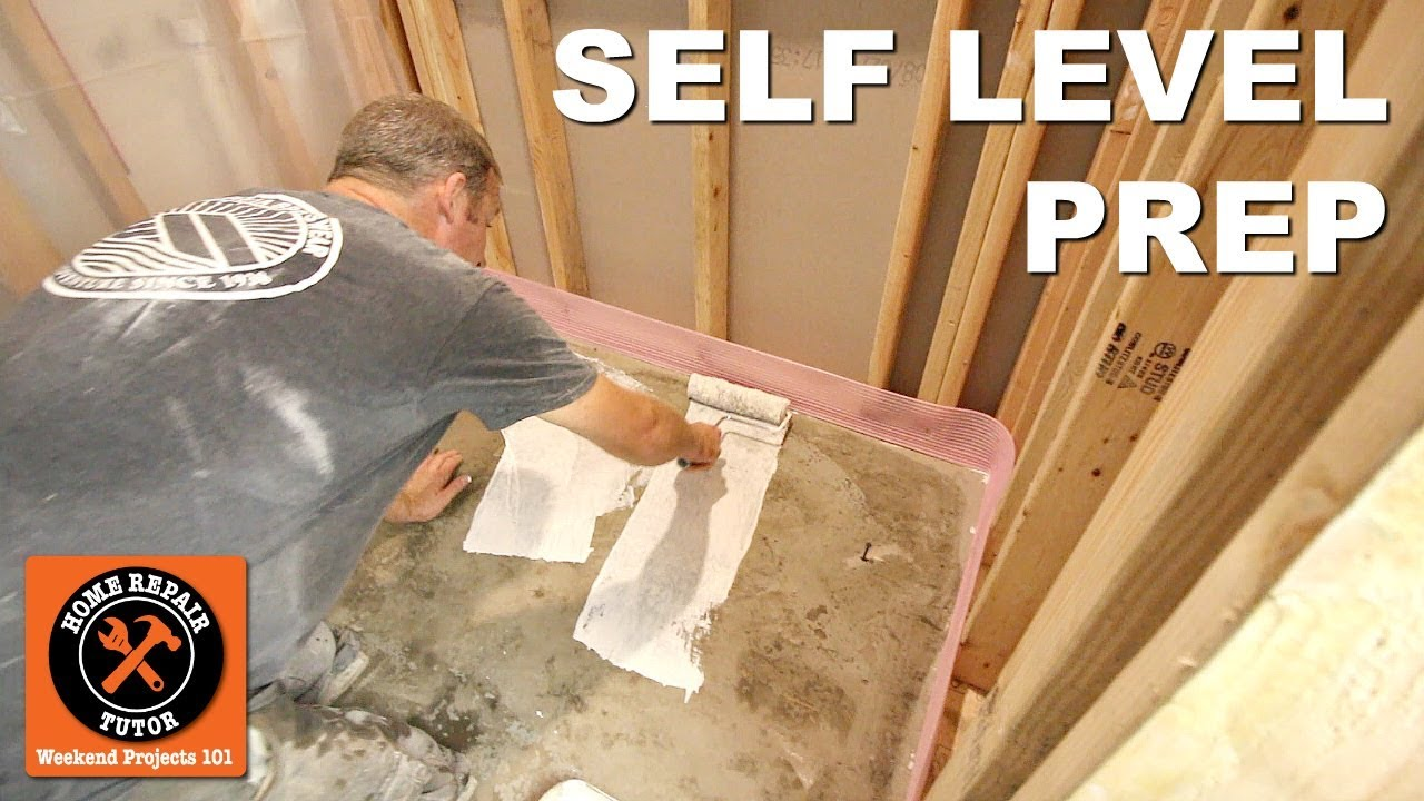 How To Self Level Bathroom Floors Part 1 Prep Concrete Basement Floor By Home Repair Tutor Youtube