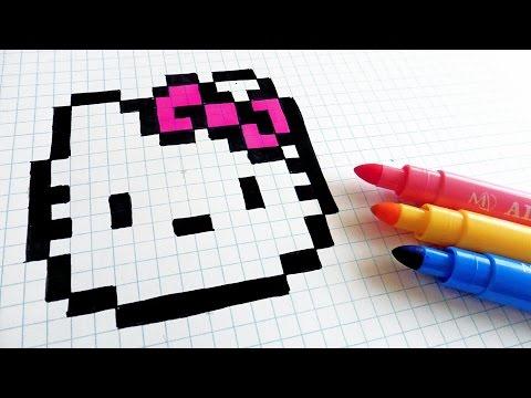 Handmade Pixel Art How To Draw Hello Kitty Pixelart Youtube